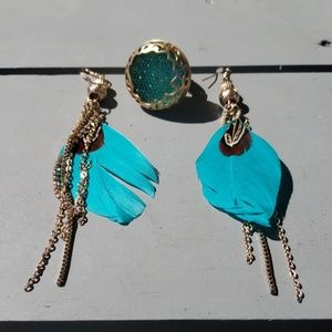 Gorgeous Teal Feather Earrings with Teal Ring